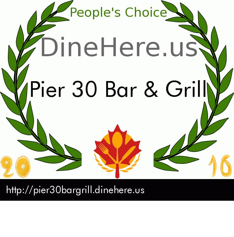 Pier 30 Bar & Grill DineHere.us 2016 Award Winner